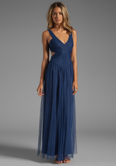 Bcbg Blue Backless Dress