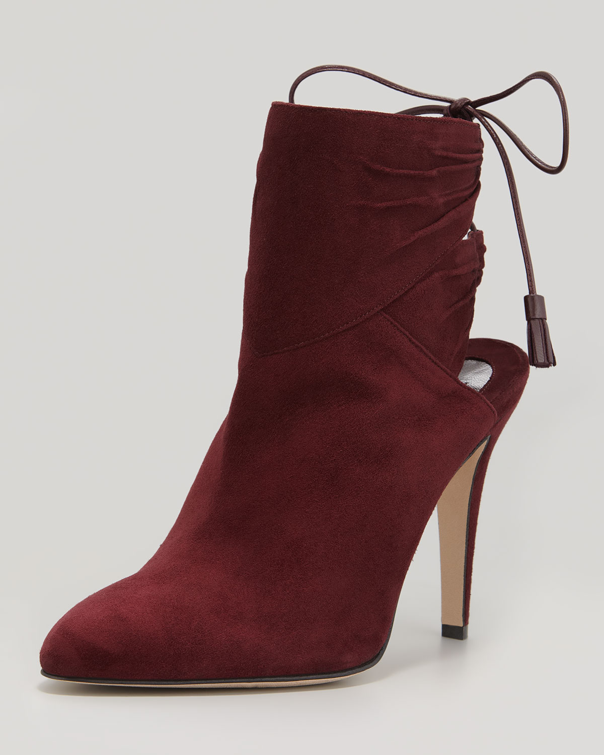brian atwood arron suede tie back ankle boot in