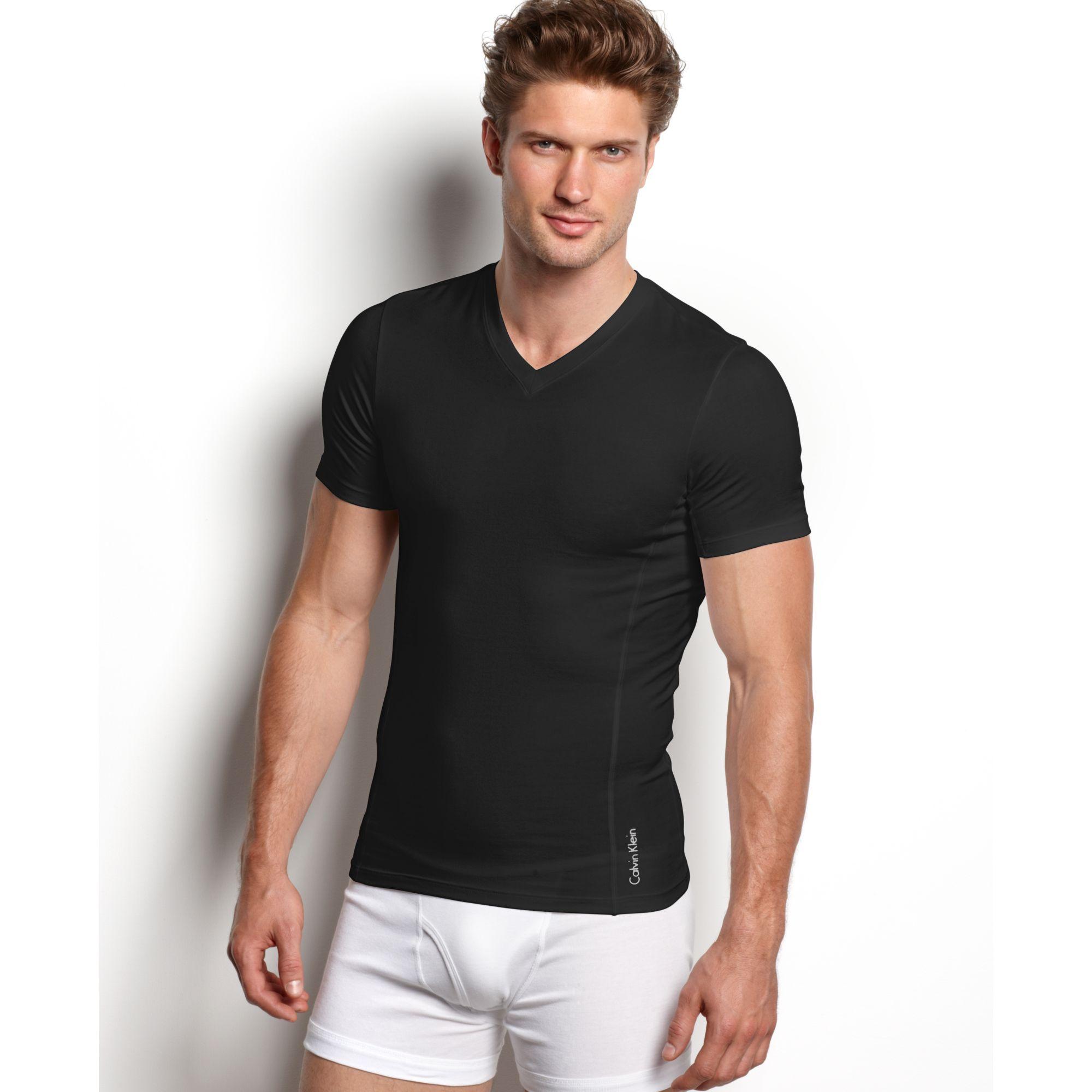 Calvin klein prostretch slim fit v neck tshirt in black for Calvin klein slim fit stretch shirt