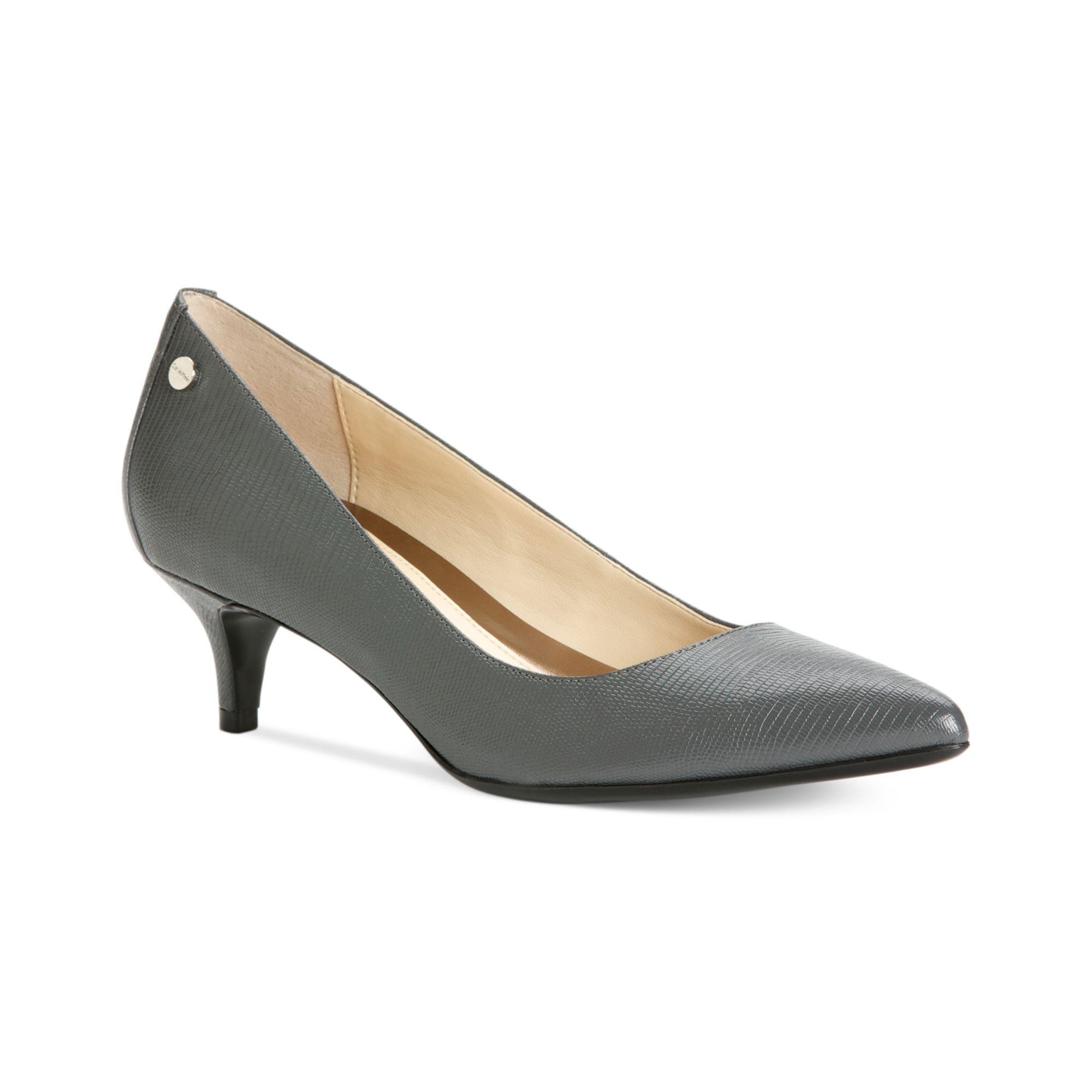 84ebe11a2ae Lyst - Calvin Klein Nicki Kitten Heel Pumps in Gray