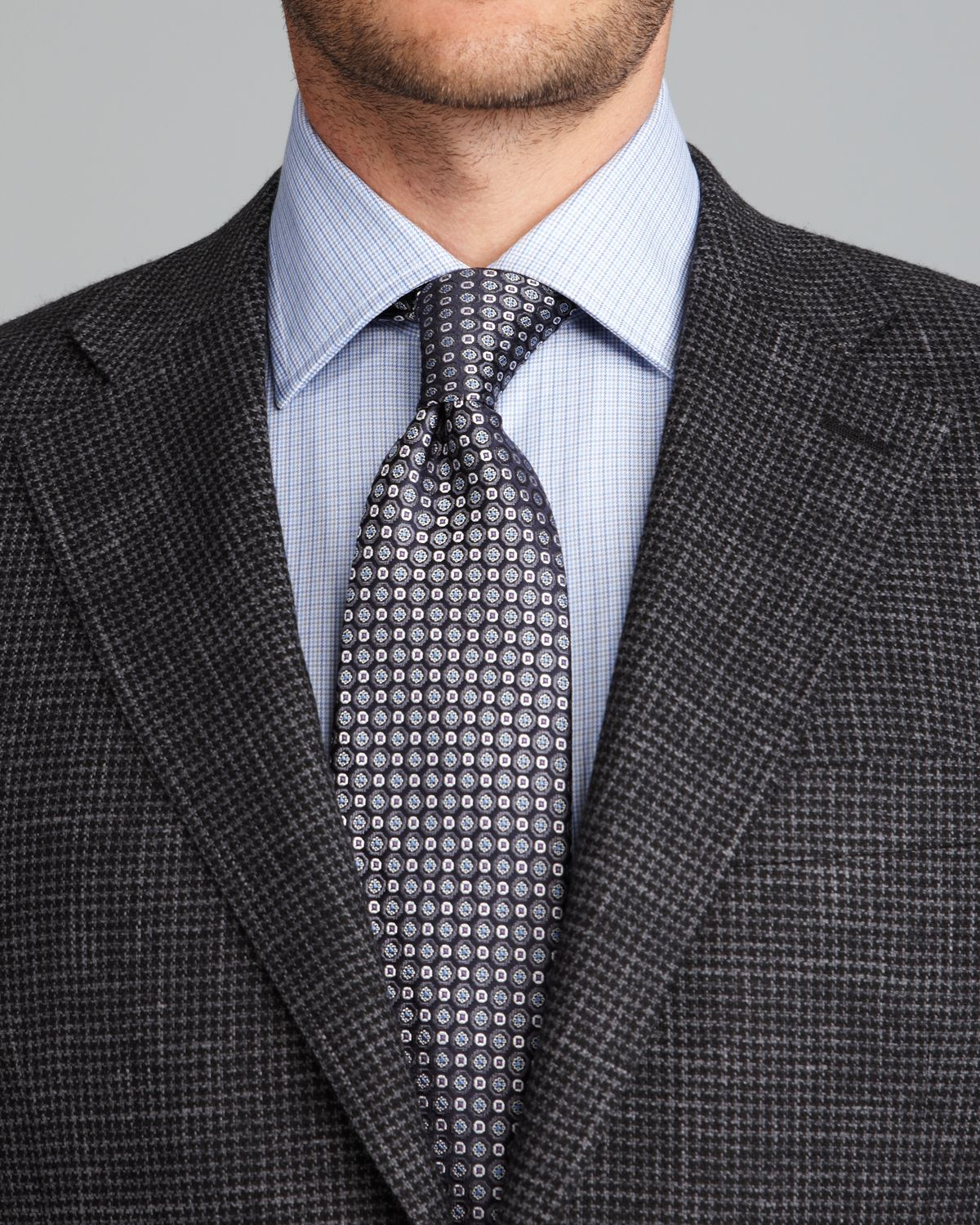 Canali Houndstooth Sport Coat Regular Fit in Gray for Men | Lyst