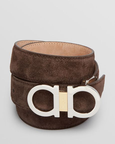 Ferragamo Silver and Goldtone Gancini Dress Belt in Brown ...