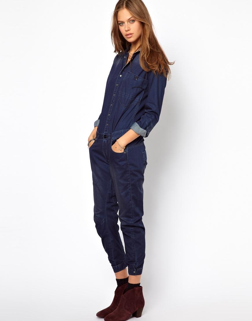 asos gstar denim jumpsuit in blue lyst. Black Bedroom Furniture Sets. Home Design Ideas