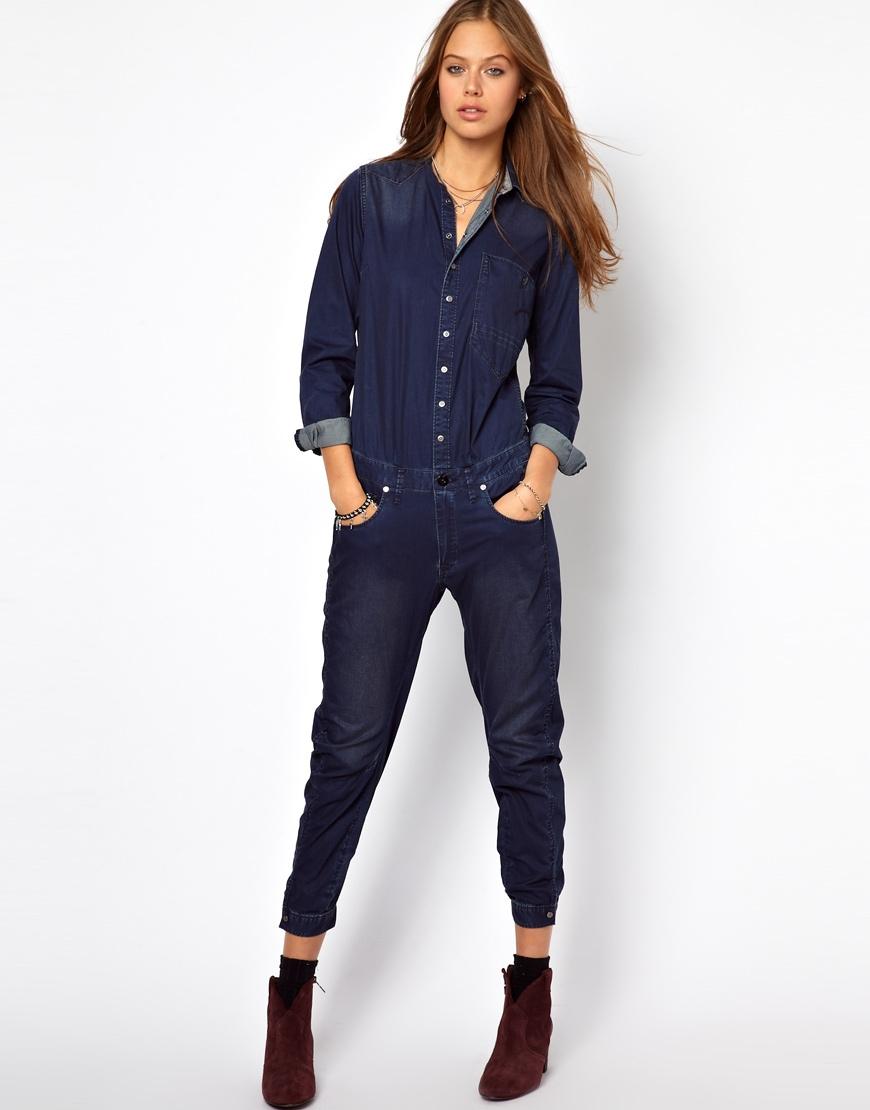 g star raw denim jumpsuit in blue lyst. Black Bedroom Furniture Sets. Home Design Ideas
