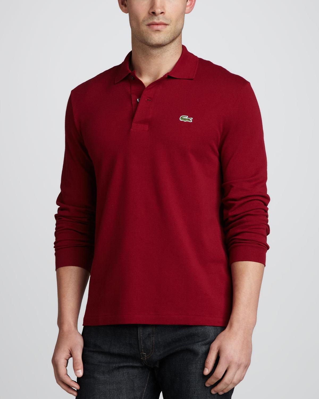 f1a49b275e Lyst,Lacoste Longsleeve Pique Polo Bordeaux in Red for Men