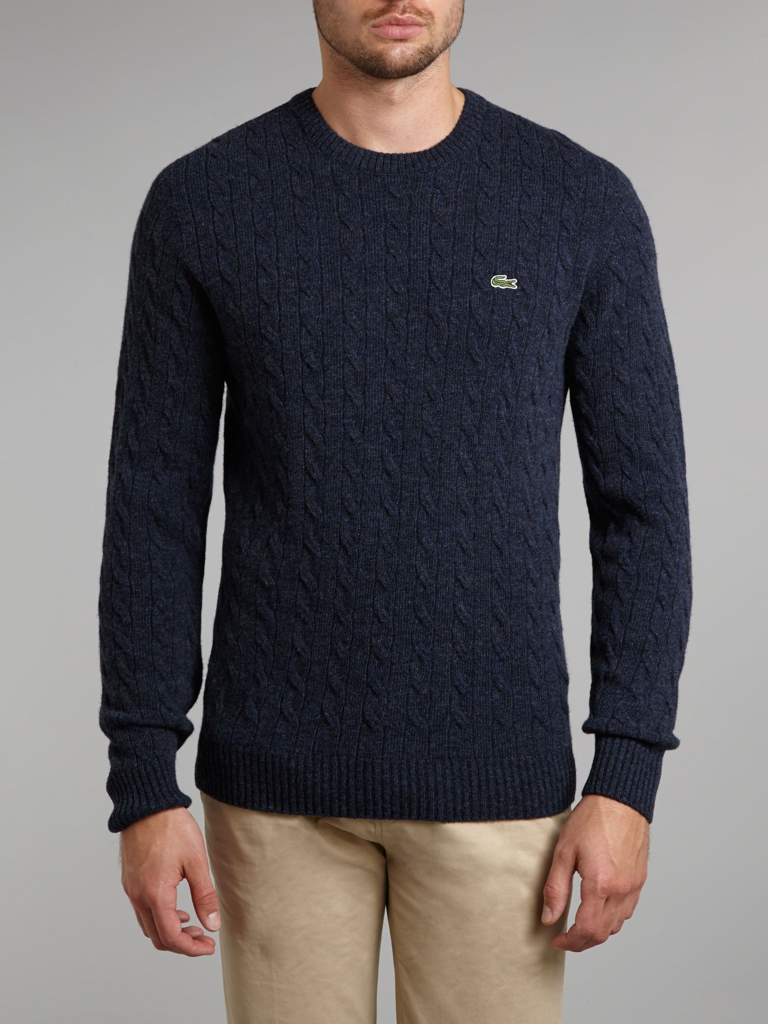Knitting Pattern Crew Neck Jumper : Lacoste Cable Knit Crew Neck Jumper in Blue for Men (Navy) Lyst
