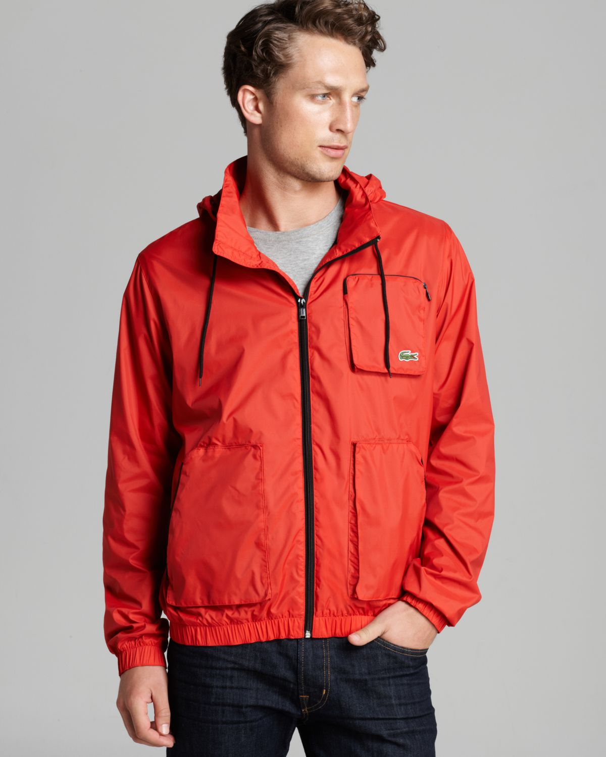 Lacoste Lightweight Nylon Jacket in Red for Men | Lyst