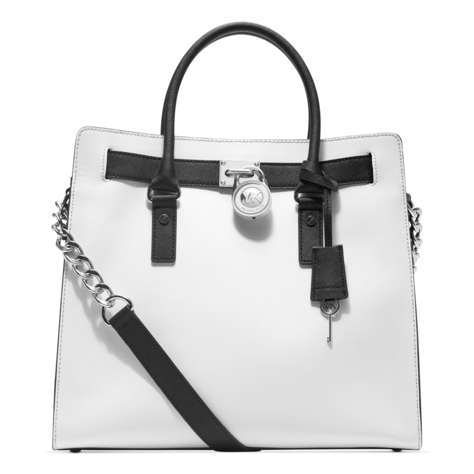 michael kors hamilton saffiano leather tote in white lyst. Black Bedroom Furniture Sets. Home Design Ideas