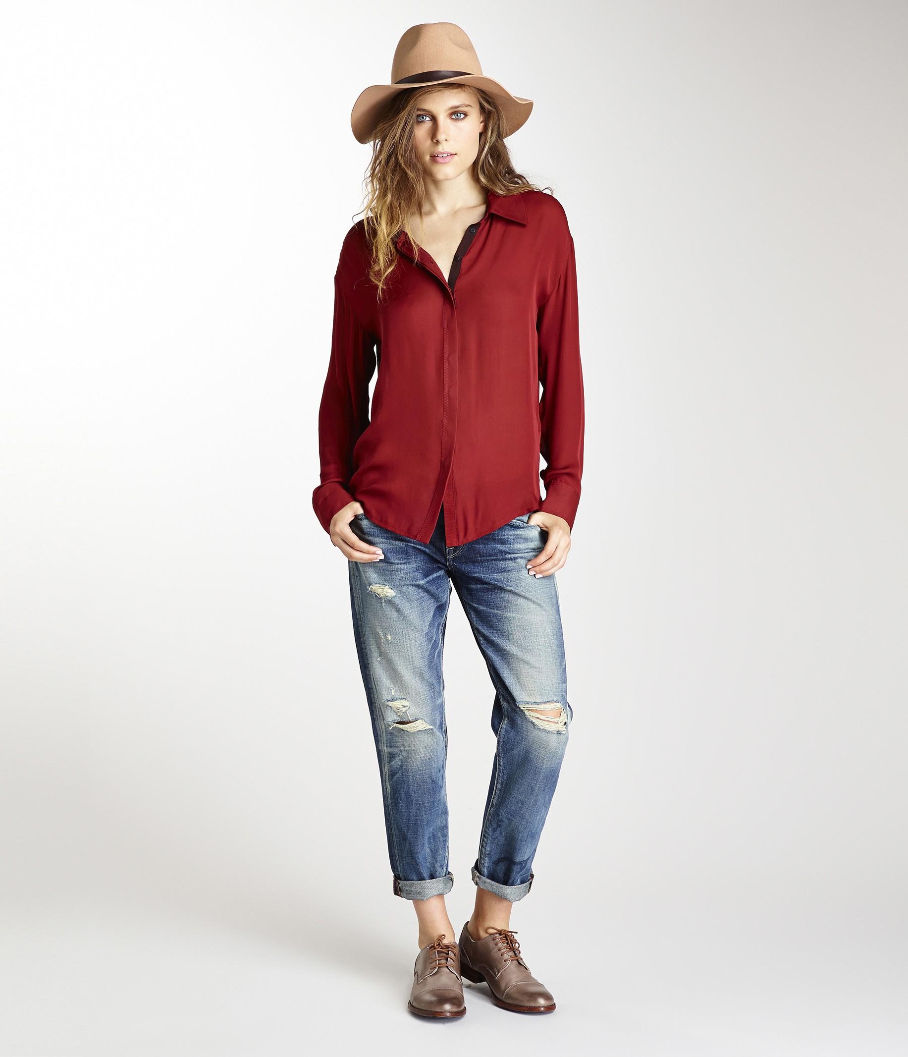 Michael stars silk collared button down shirt in red for Silk button down shirt