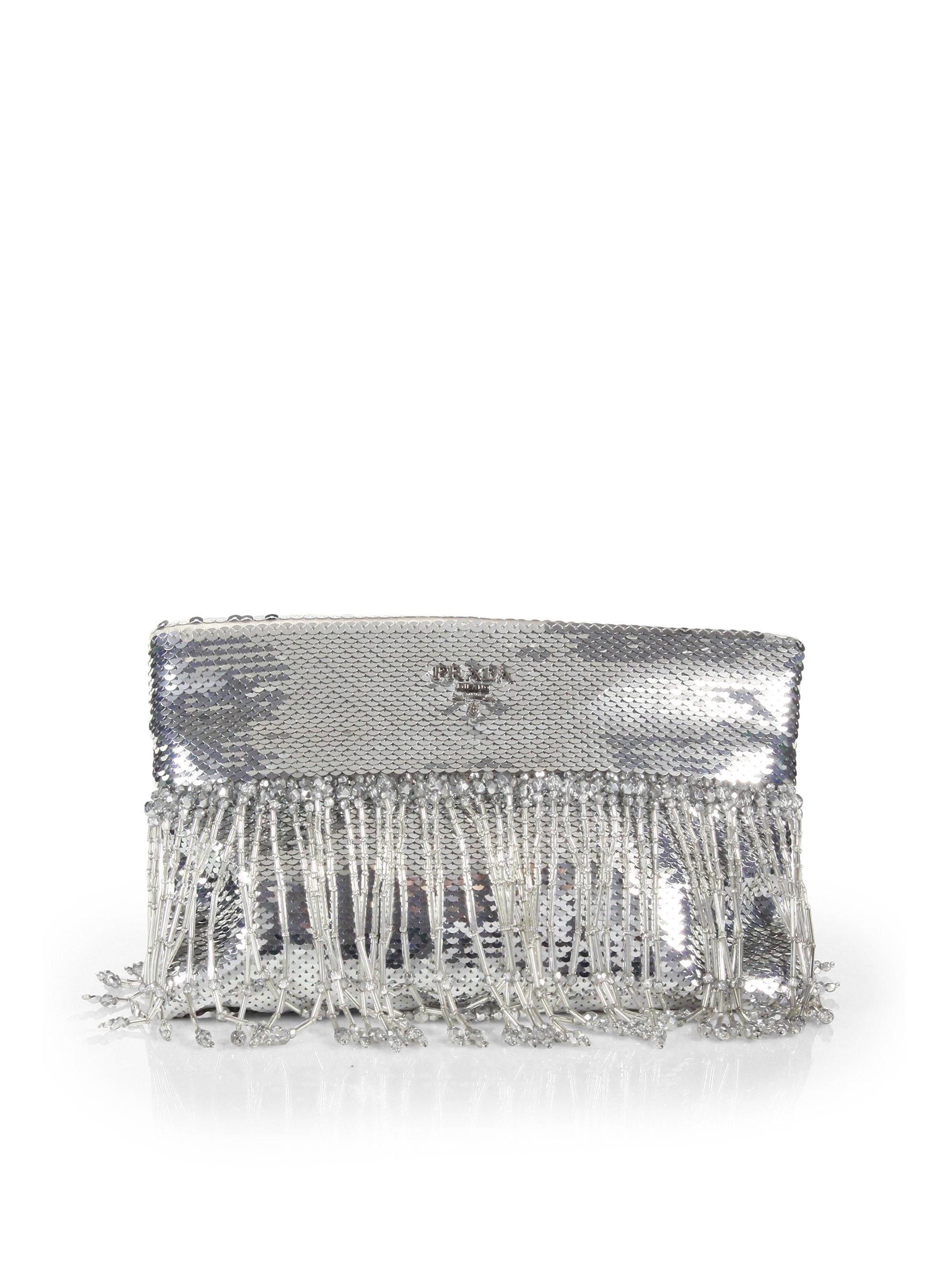 ba5057d03677 Prada Paillettes Fringe Clutch in Metallic - Lyst