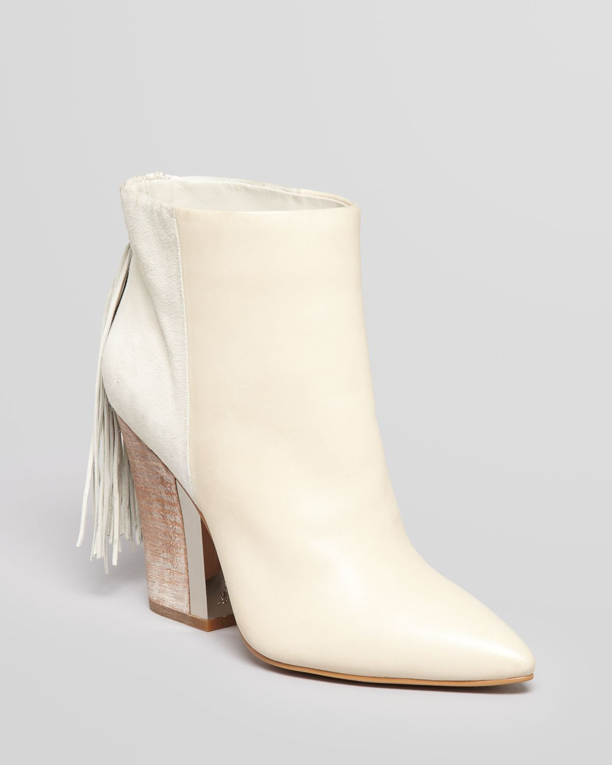 81c924f056066a Lyst - Sam Edelman Booties Mariel High Heel with Fringe Back in Natural