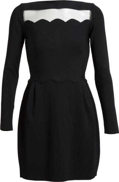 Valentino Scalloped Stretch Knit Dress in Black