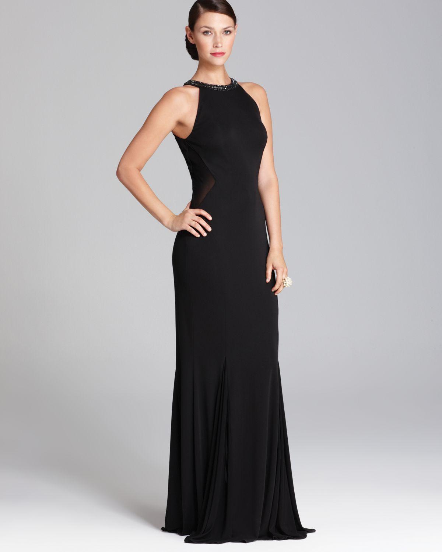 Aidan Mattox High Neck Mesh Inset Gown Sleeveless In Black