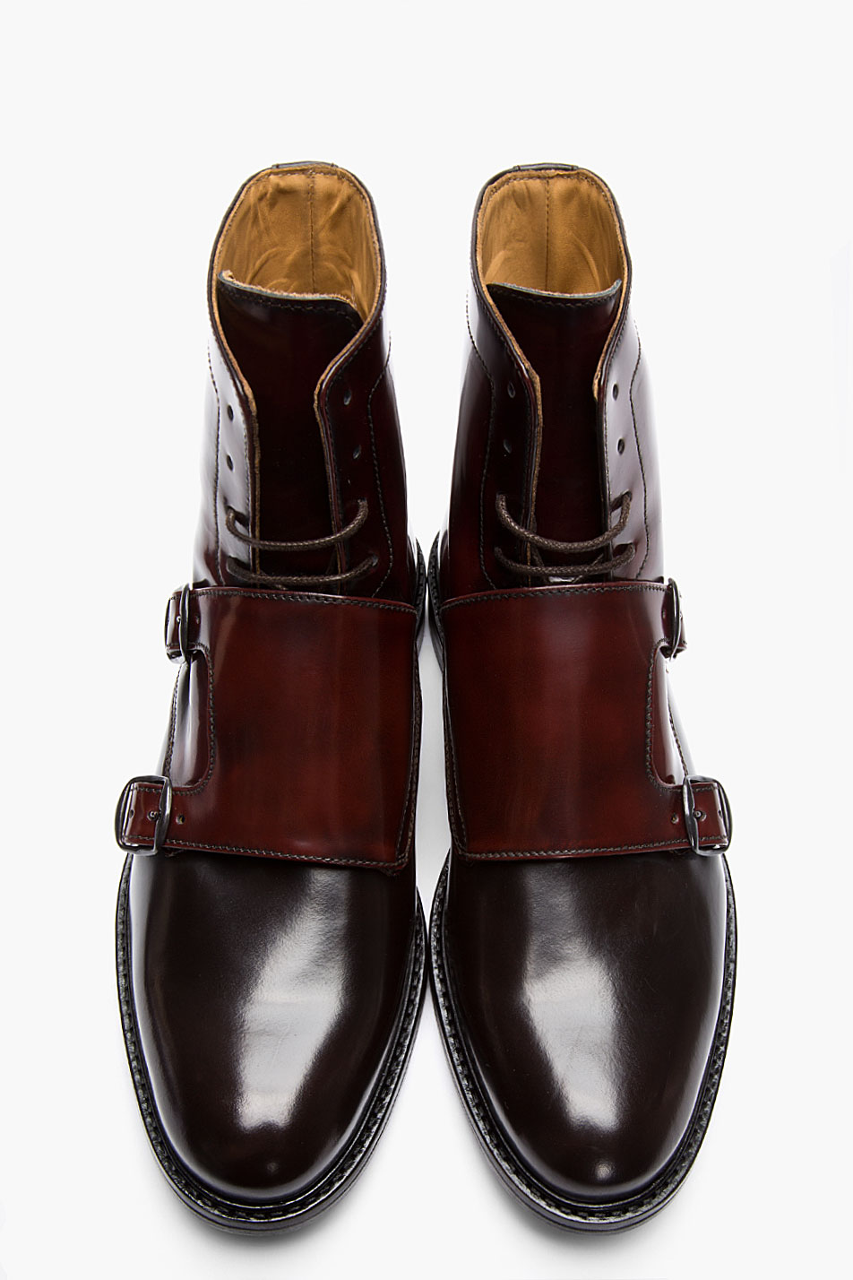Carven Mahogany Two Tone Monk Strap Boots In Burgundy