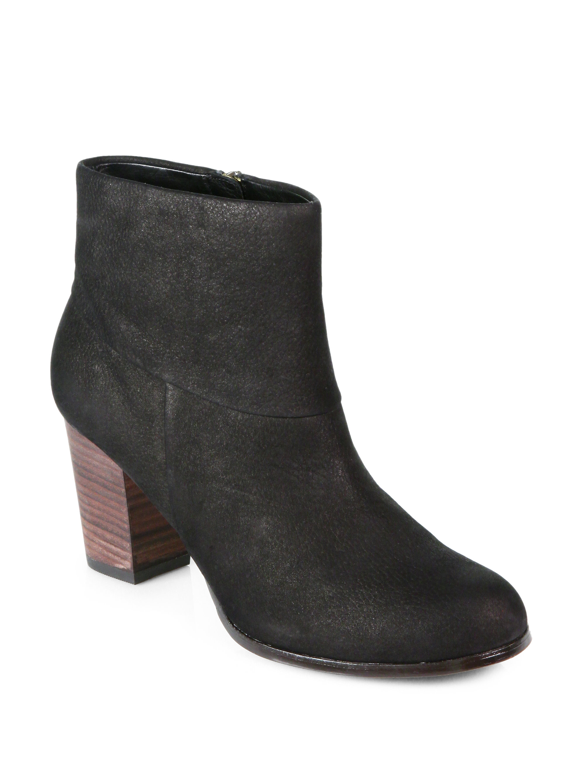 cole haan cassidy nubuck leather ankle boots in black lyst