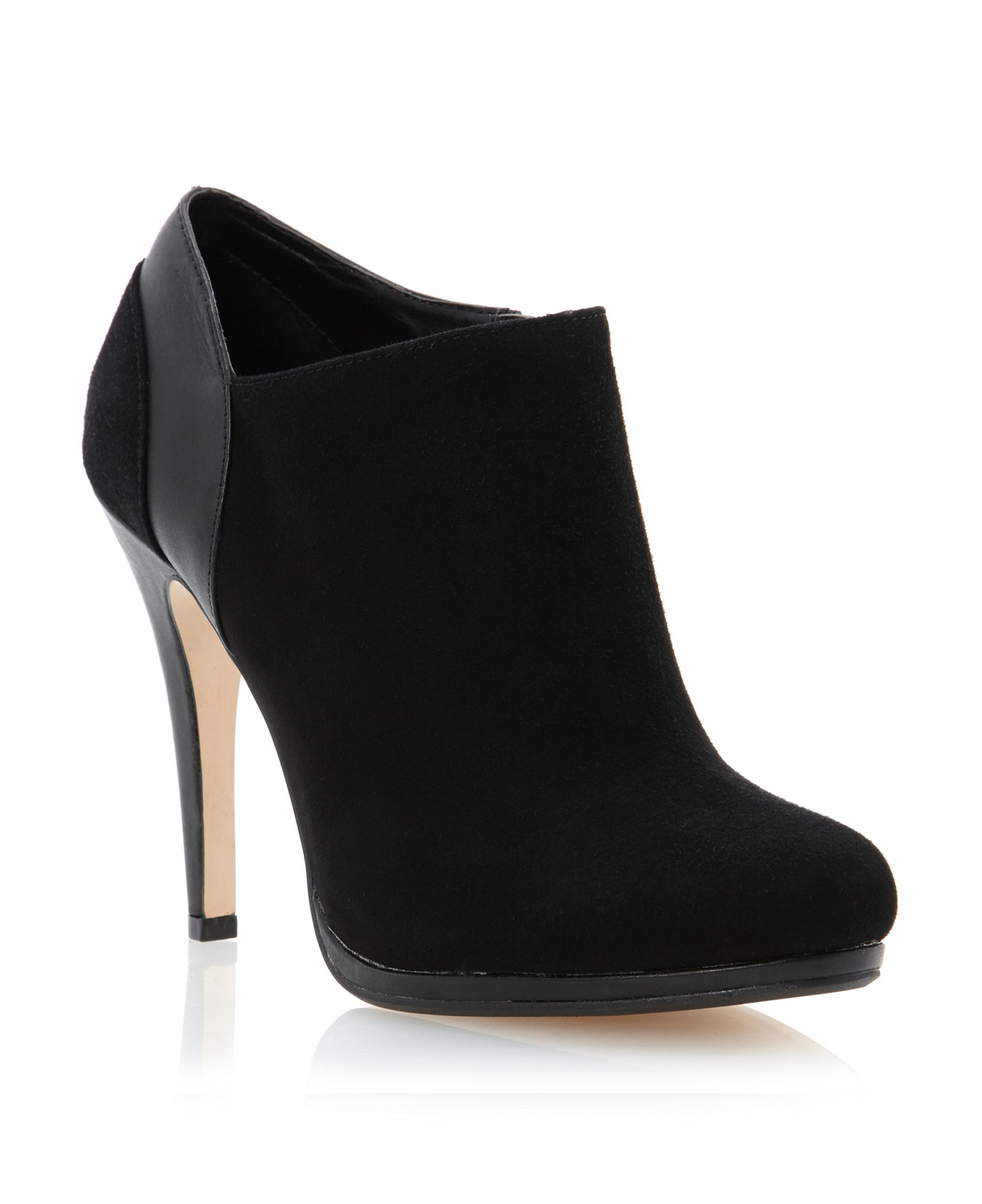dune adorn suede leather mix shoes boots in black black