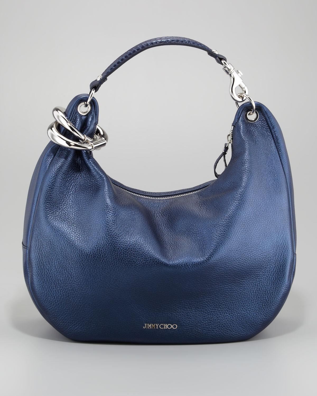 44c4e38ccdd Jimmy Choo Solar Metallic Hobo Bag in Blue - Lyst