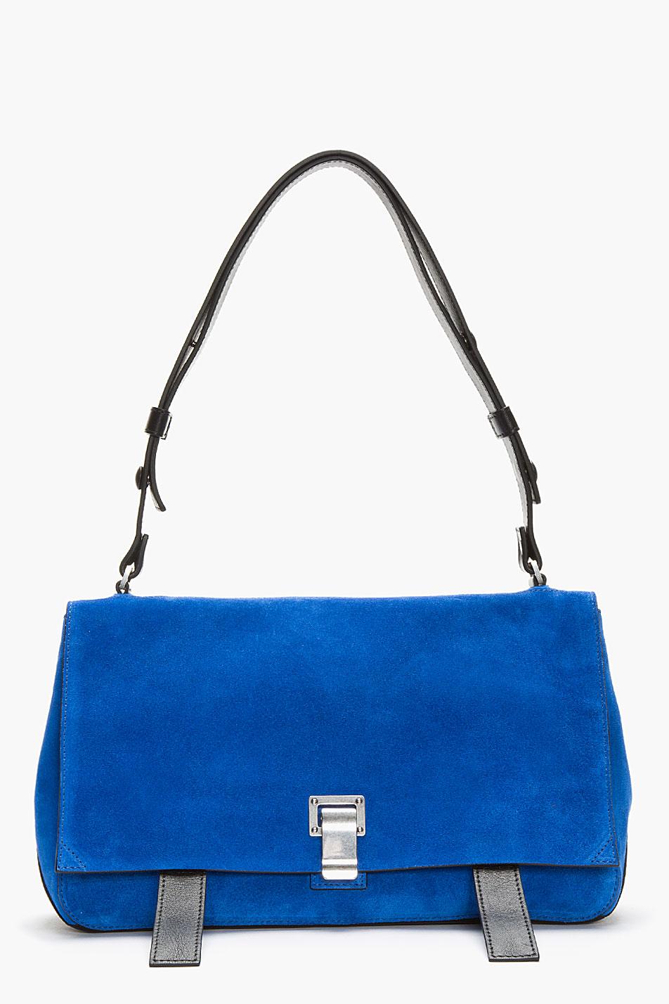 Proenza Schouler Royal Blue Suede PS Courier Shoulder Bag in Blue