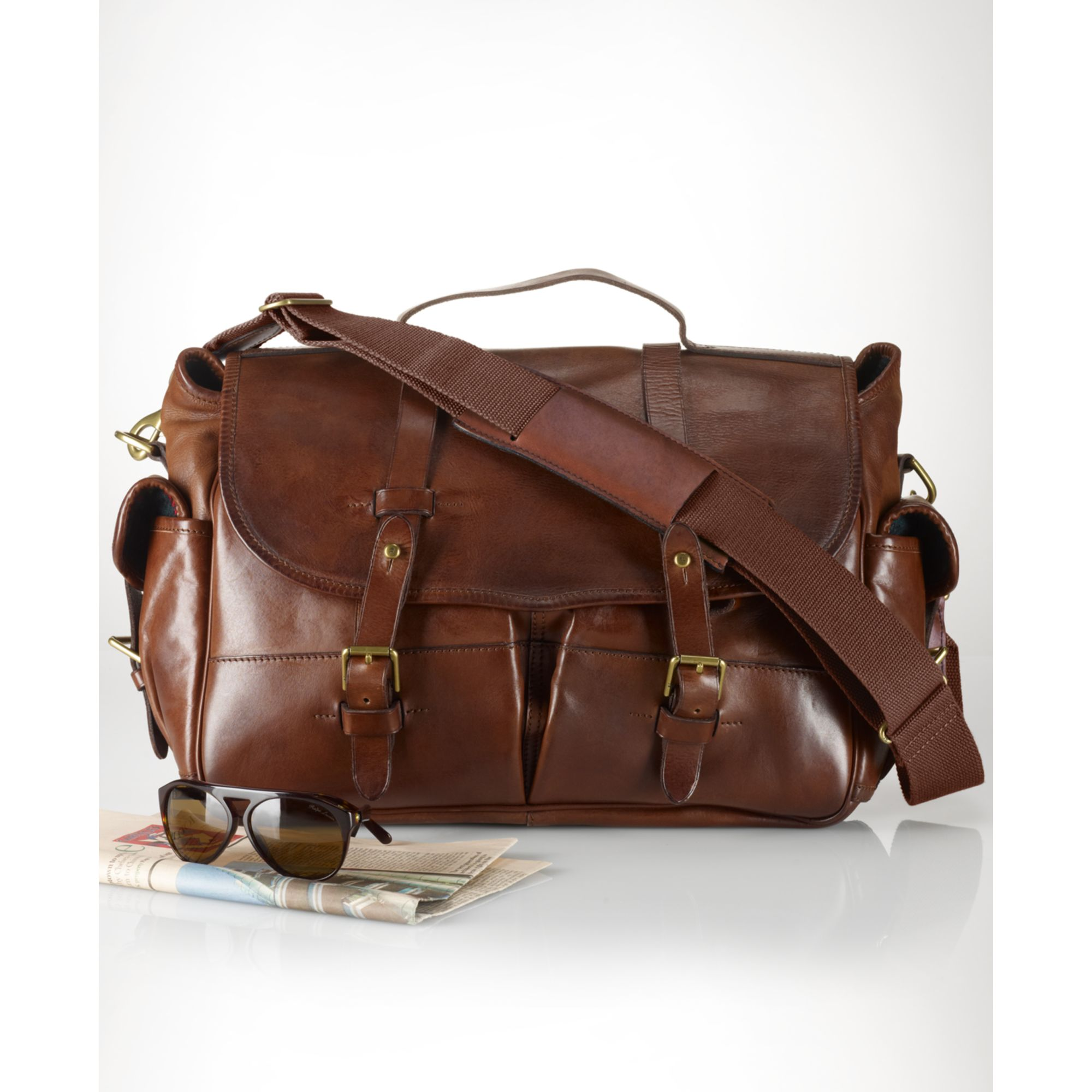 20abd65b2afc ... inexpensive lyst ralph lauren leather messenger bag in brown for men  8f910 24174