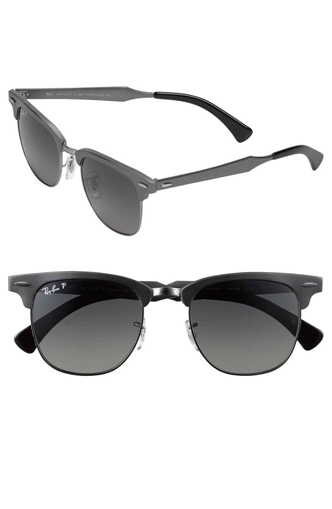 ray ban polarized clubmaster 49mm sunglasses in silver gunmetal lyst. Black Bedroom Furniture Sets. Home Design Ideas