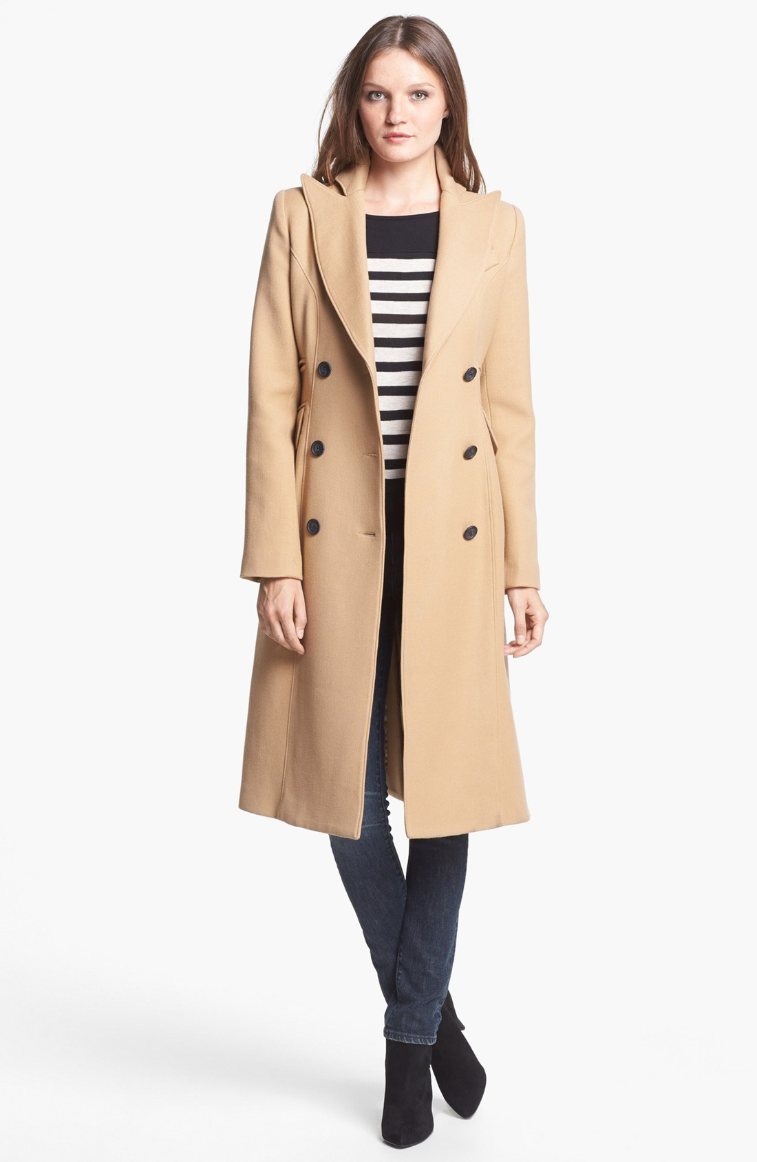 Smythe Long Double Breasted Wool Coat in Natural | Lyst