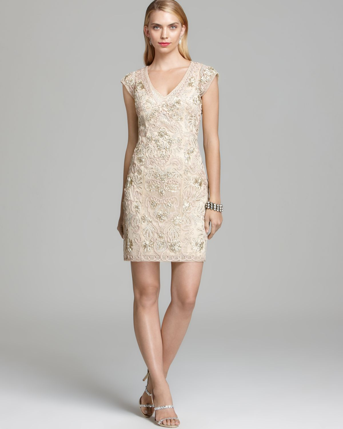 Sue wong V Neck Dress Cap Sleeve in Natural | Lyst