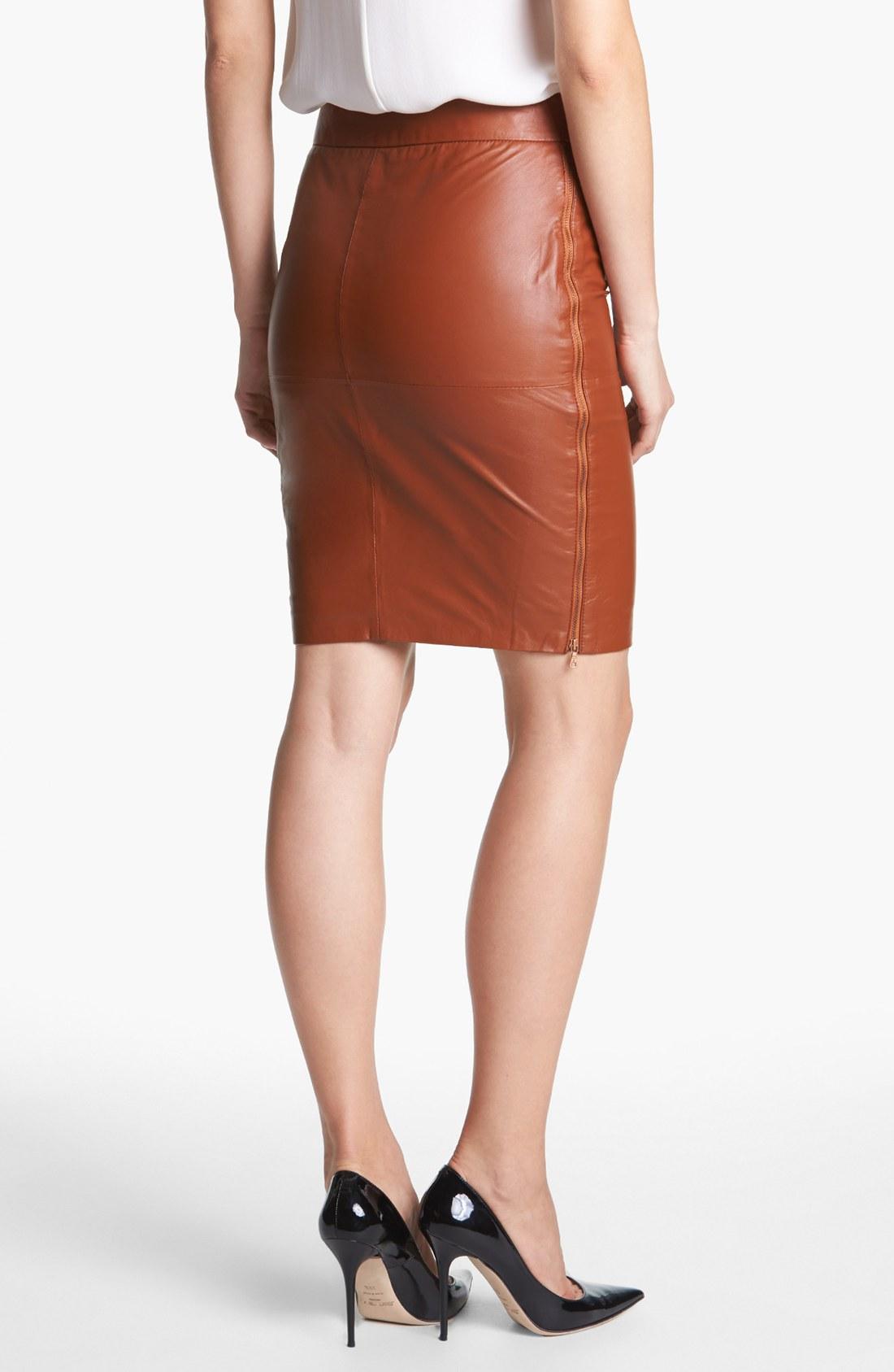 Trina turk Sydney Leather Skirt in Brown | Lyst