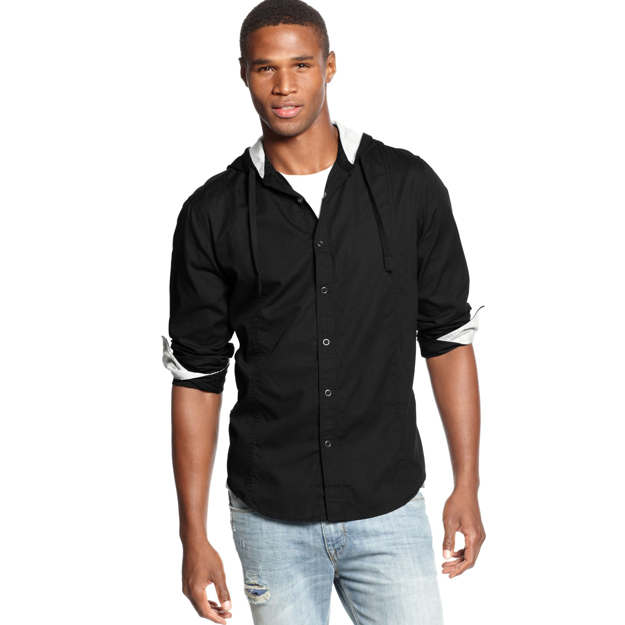 American rag hooded long sleeve texture shirt in black for for Mens shirts with snaps instead of buttons