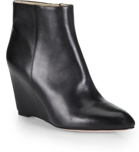 b brian atwood bellaria leather wedge ankle boots in black