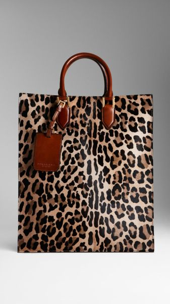 burberry spotted animal print tote bag in brown camel lyst