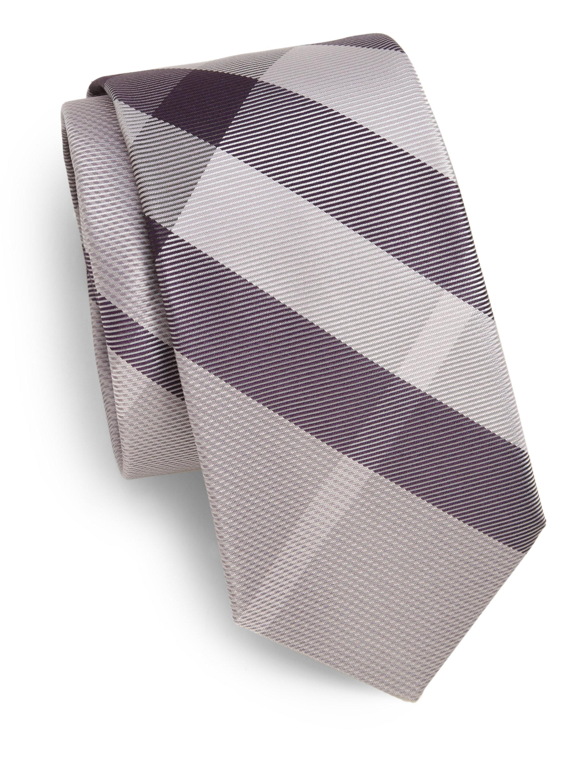 0da7a53d0045 ... denmark lyst burberry striped checkprint silk tie in purple for men  07483 c3c97