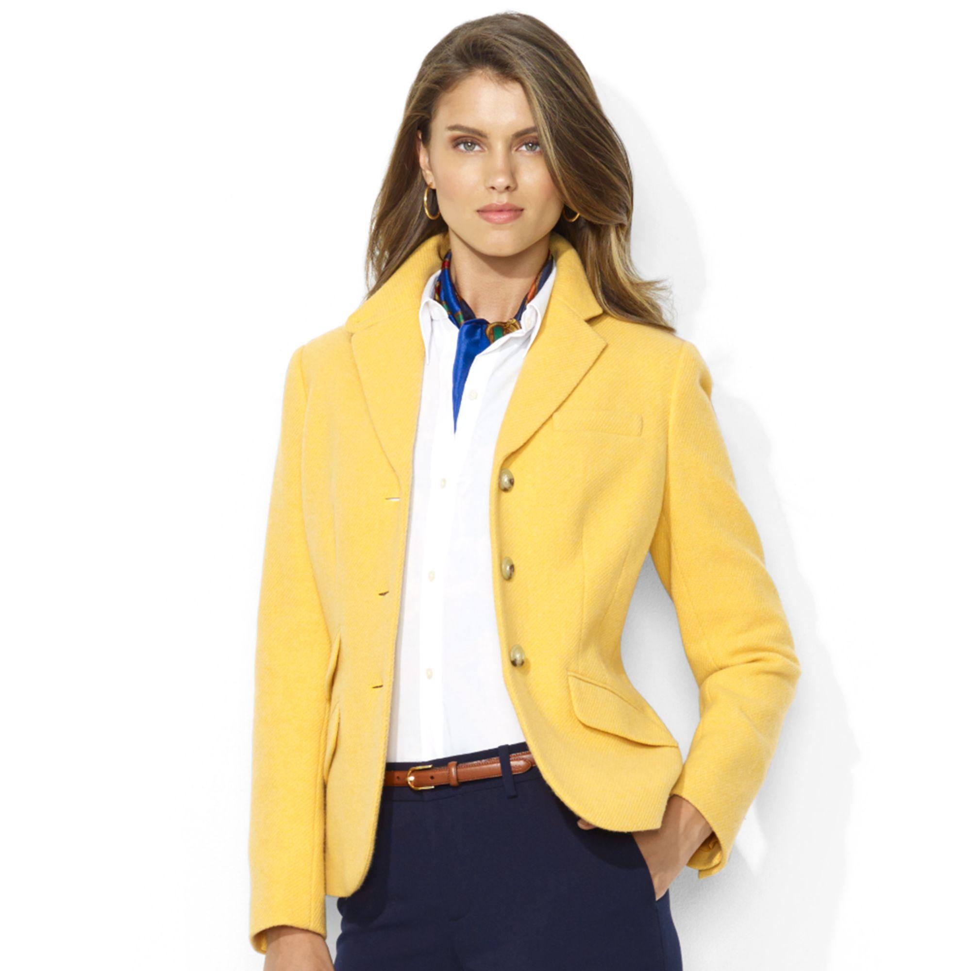 Ralph Lauren Käsilaukku : Lauren by ralph wool blazer in yellow lyst