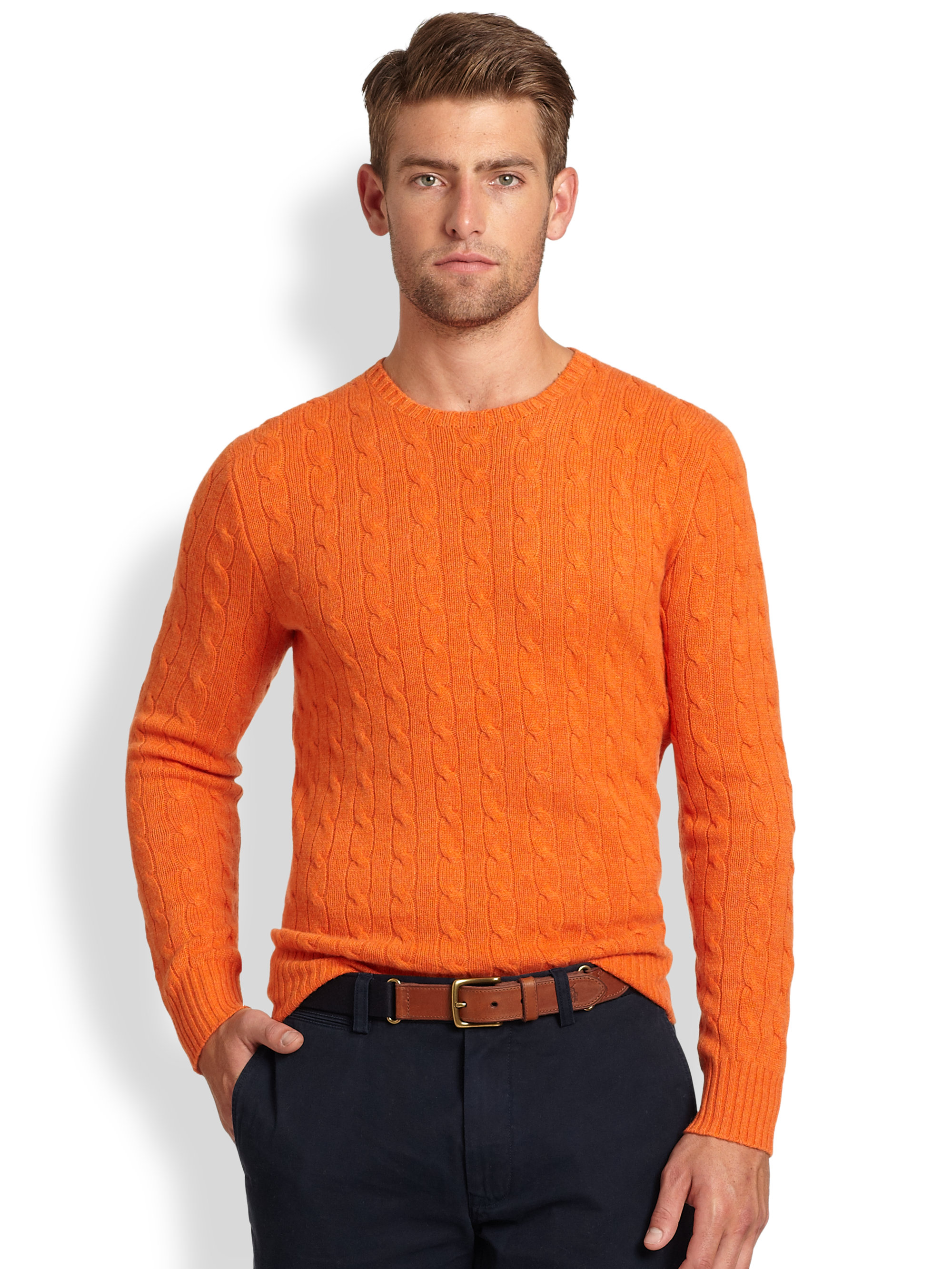 Polo ralph lauren Cable Knit Cashmere Crewneck Sweater in Orange ...