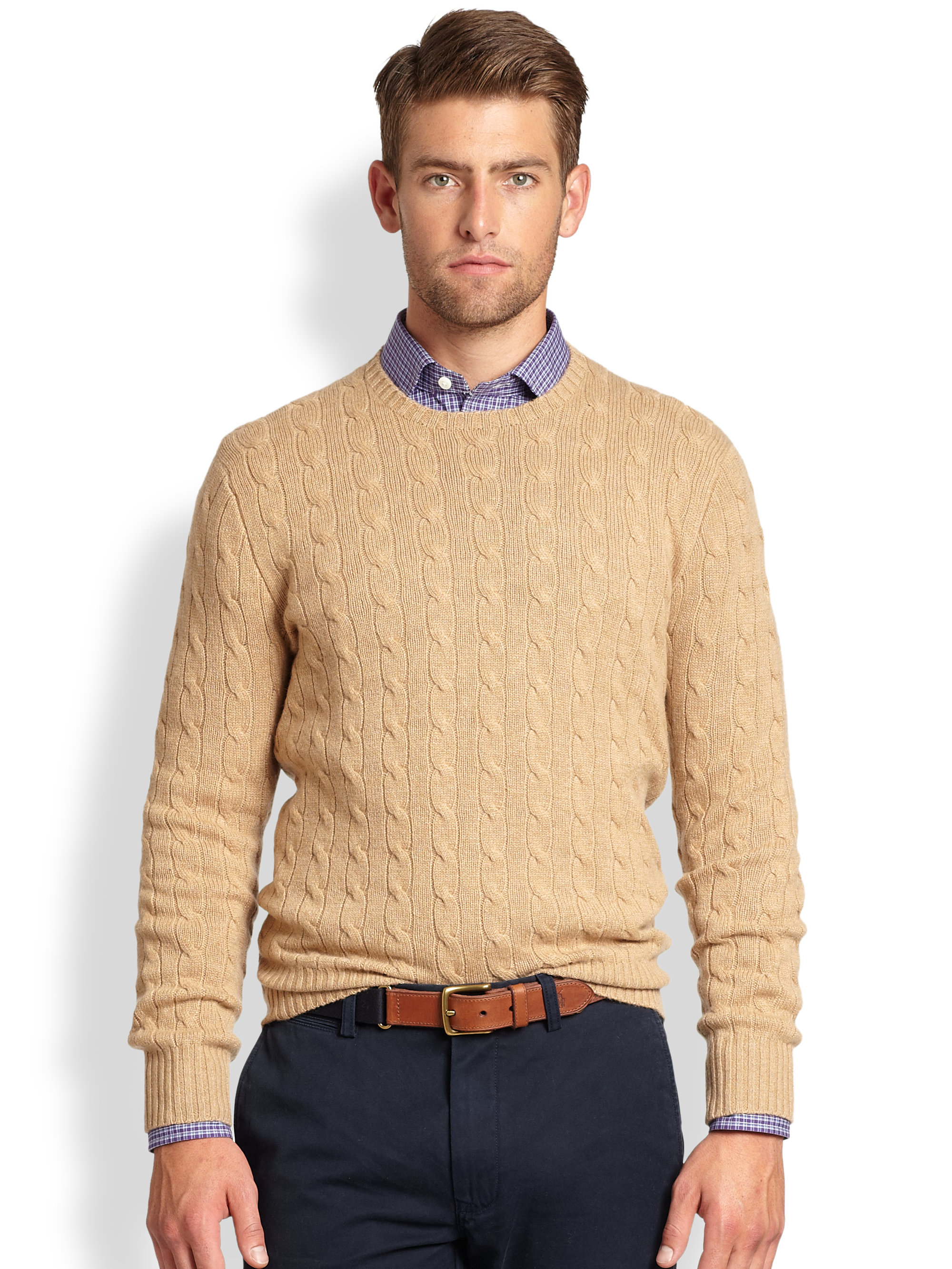 876e2dd367 Polo Ralph Lauren Cable Knit Cashmere Crewneck Sweater in Natural ...
