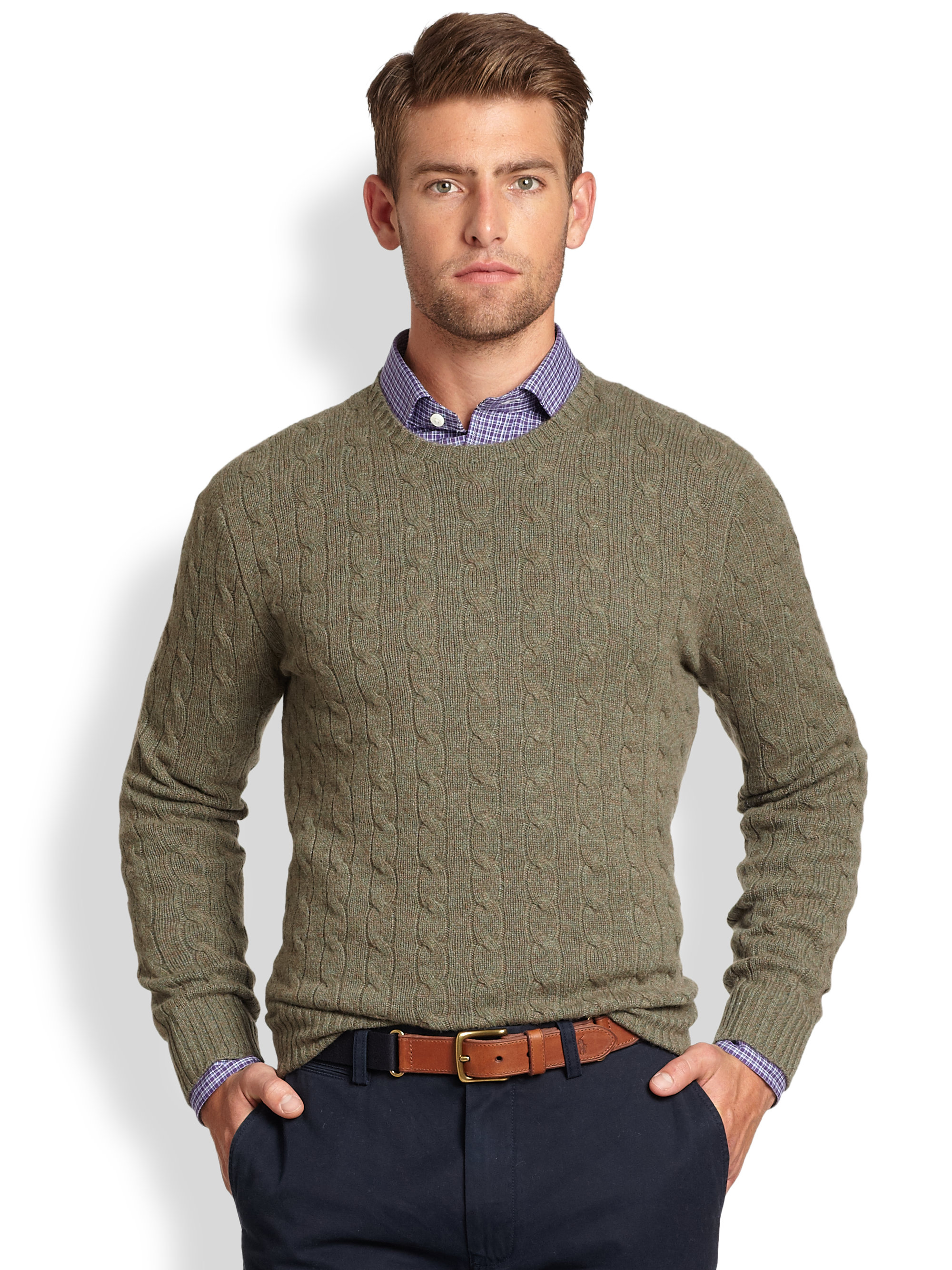 c1c04b0a7e3 Lyst - Polo Ralph Lauren Cable Knit Cashmere Crewneck Sweater in ...
