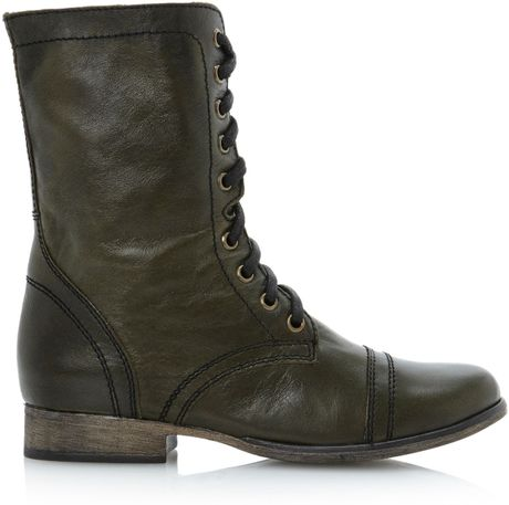 Steve Madden Troopa Sm Lace Up Calf Boots In Green Lyst