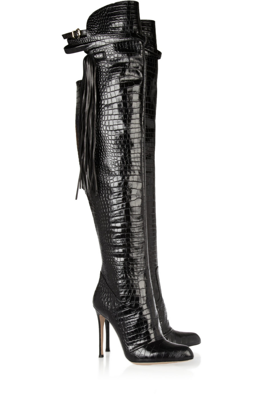 Altuzarra Leather Fringe Over The Knee Boots in Black | Lyst