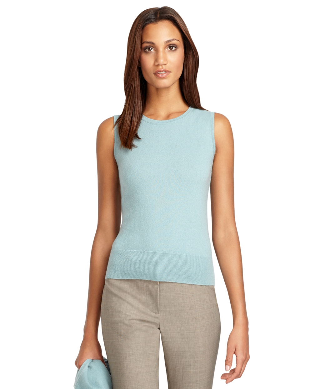 Brooks brothers Sleeveless Shell Cashmere Sweater in Blue | Lyst
