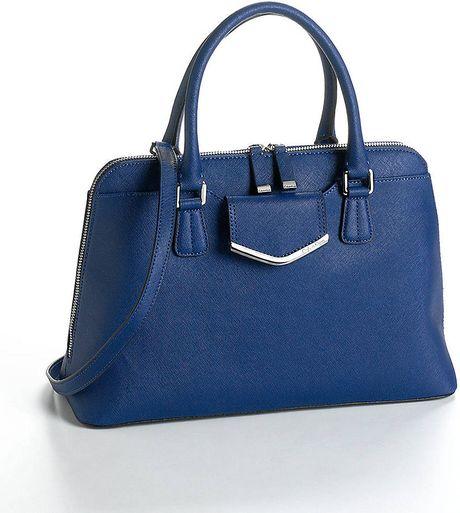 Calvin Klein Leather Satchel Handbag in Blue (INK)