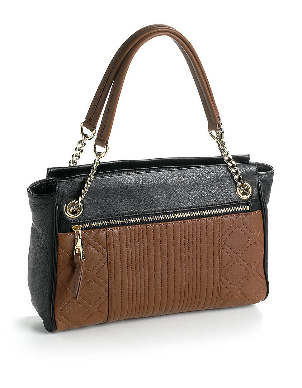 Calvin Klein Colorblock Leather Satchel Bag In Brown