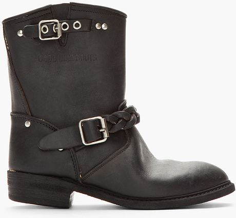 golden goose deluxe brand black leather braided biker boots in black for men lyst. Black Bedroom Furniture Sets. Home Design Ideas