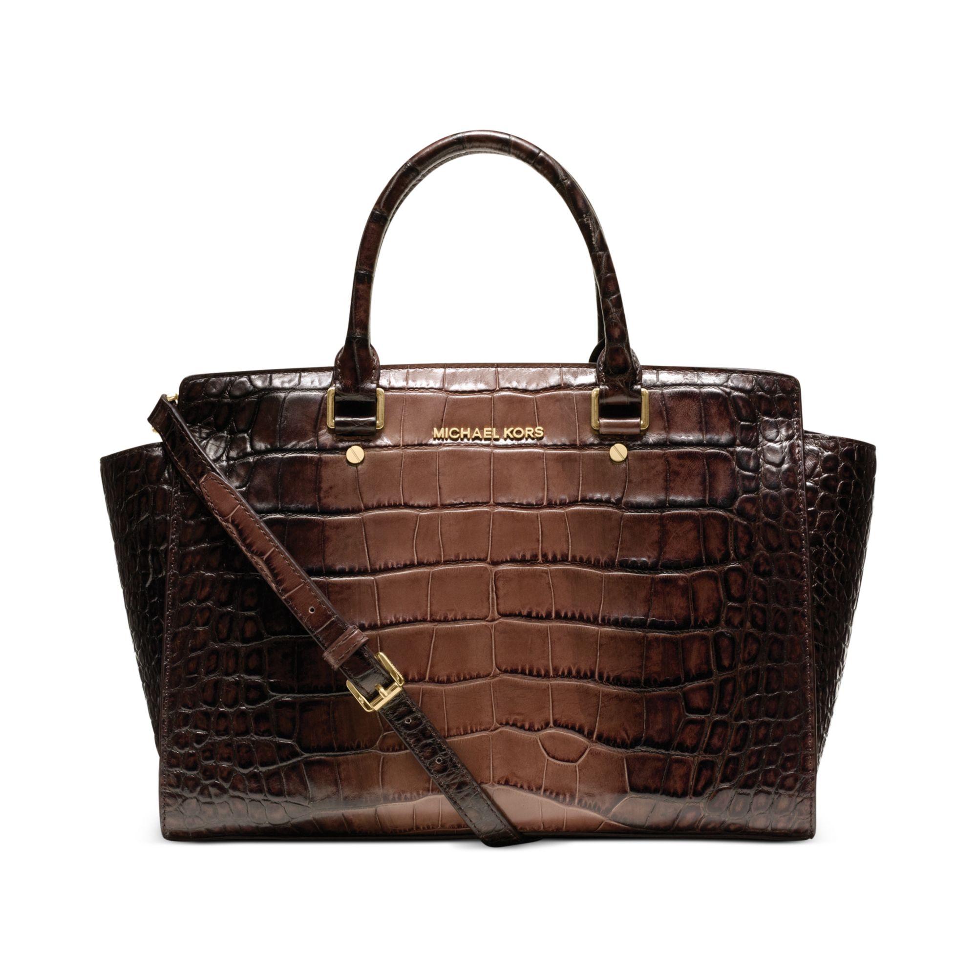 michael kors selma large croco satchel in brown lyst. Black Bedroom Furniture Sets. Home Design Ideas