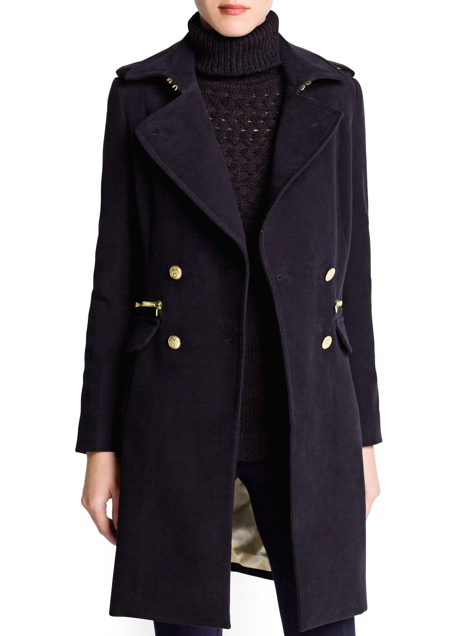 Mango Military Style Long Coat in Black | Lyst