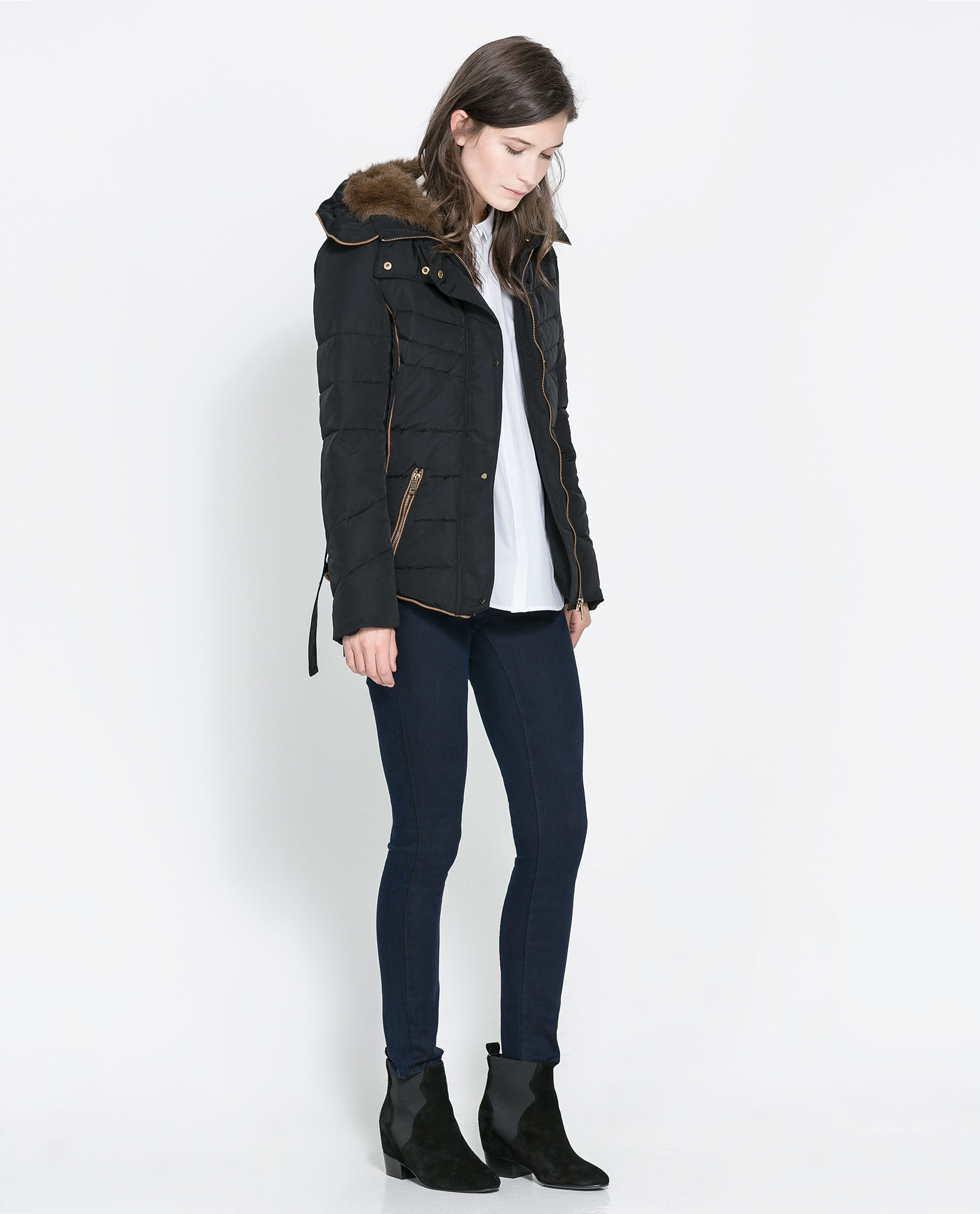 Zara Short Quilted Jacket with Hood in Black
