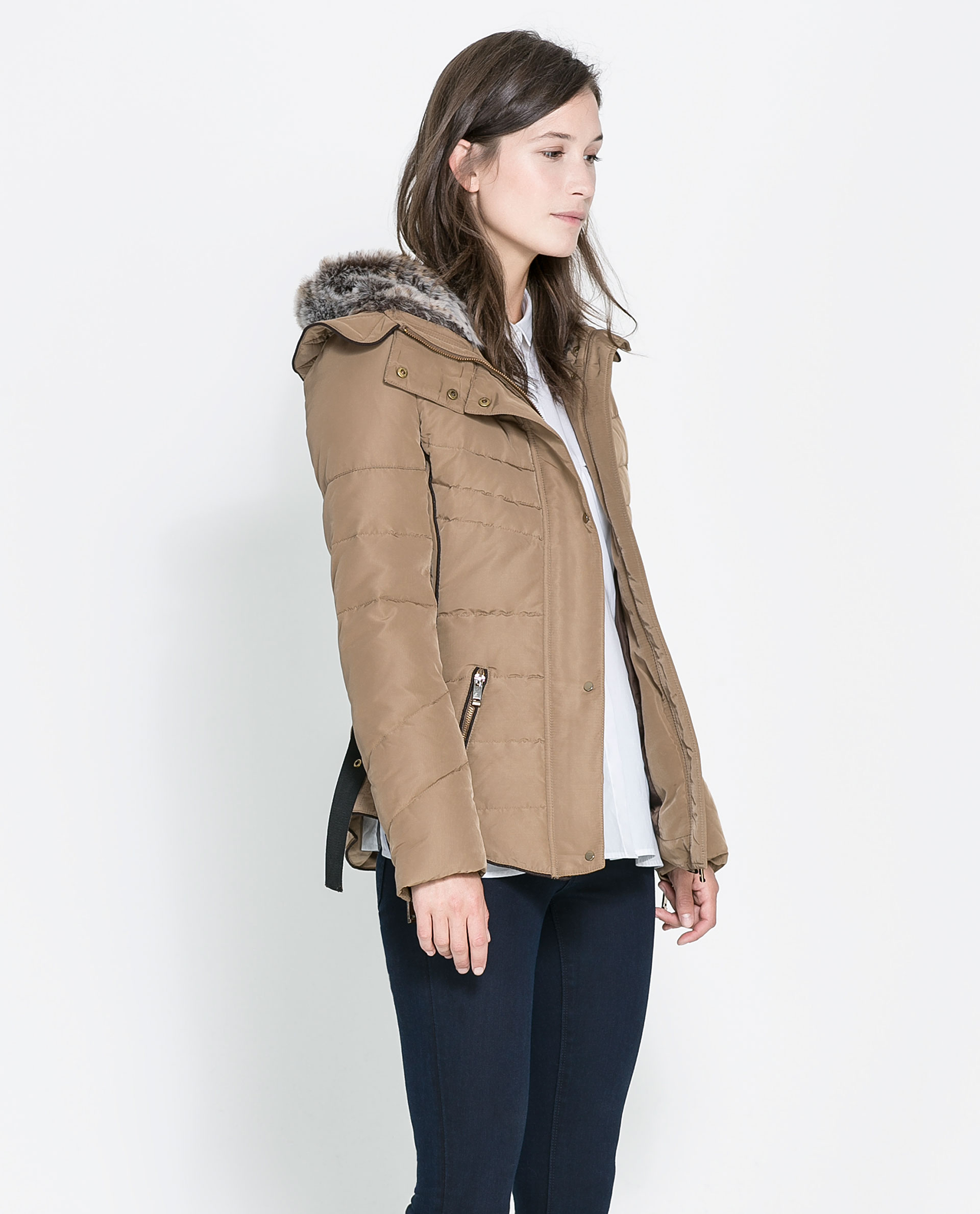 Zara Short Quilted Jacket with Hood in Natural | Lyst