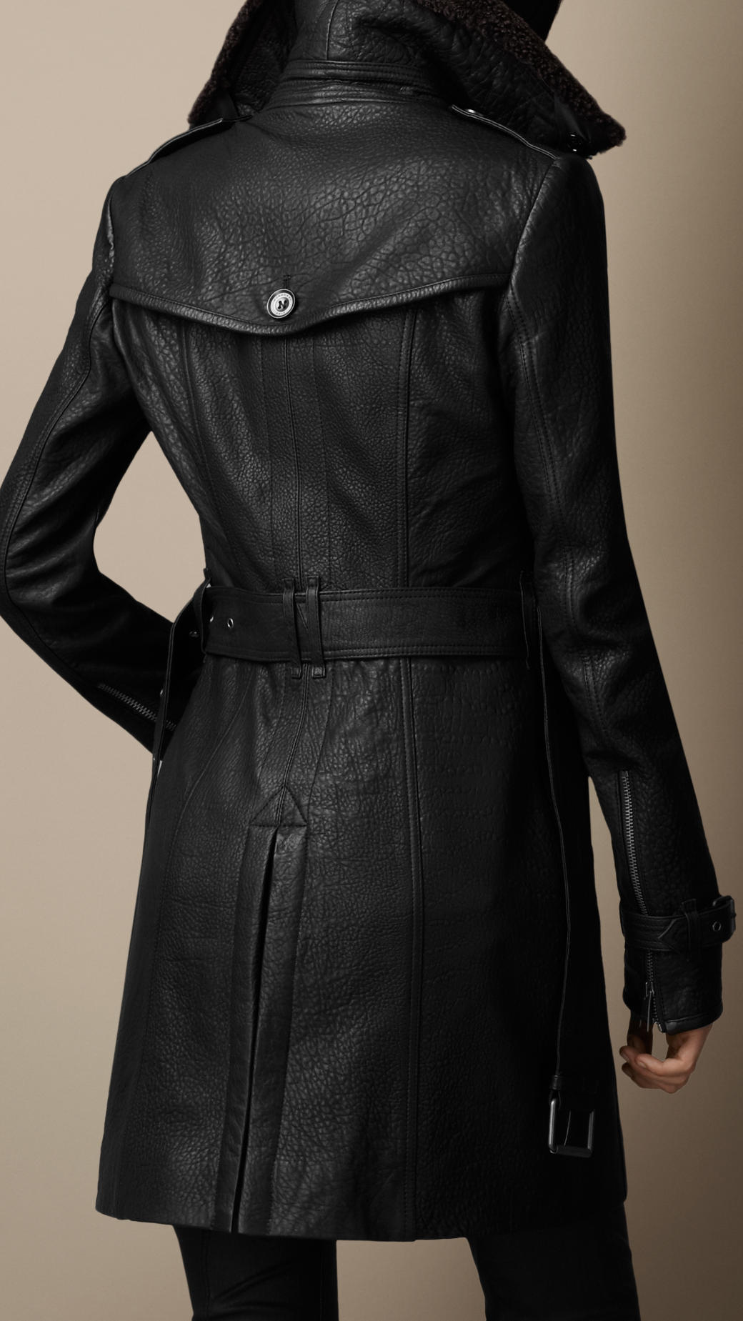 Lyst Burberry Midlength Shearling Collar Leather Trench