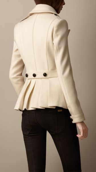 Burberry Wool Cashmere Pea Coat In Beige Natural White