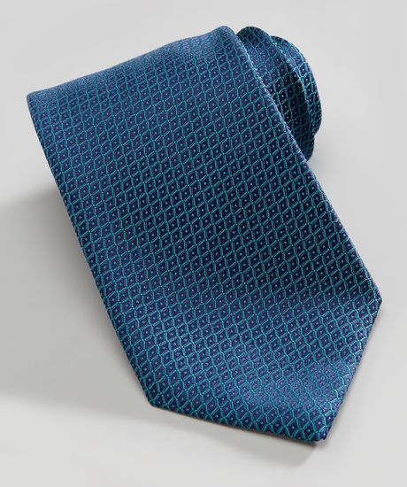 charvet neat grid silk tie in blue for teal blue lyst