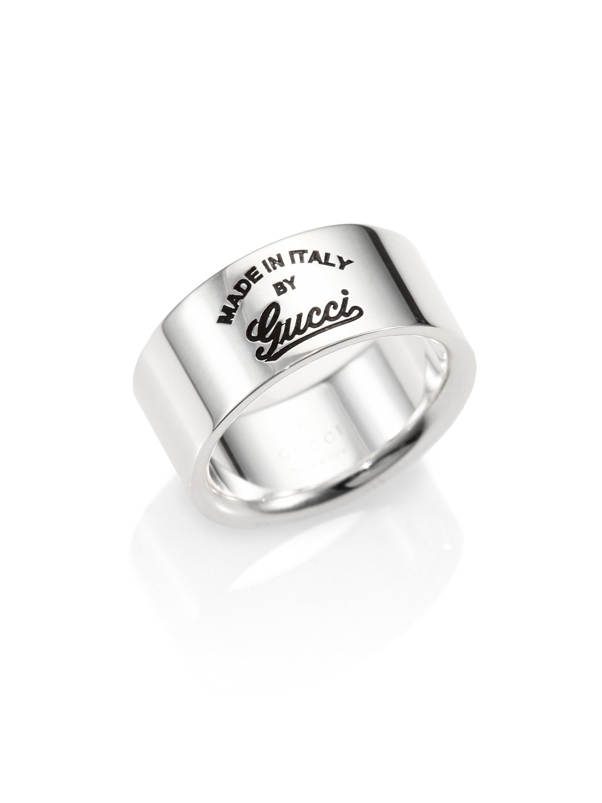 gucci sterling silver gg craft ring in silver lyst