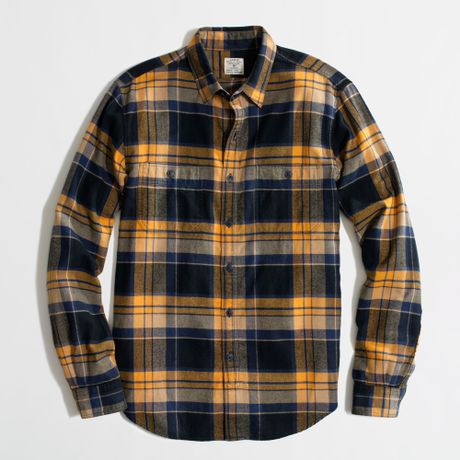 Factory flannel workshirt in plaid in yellow for for Blue and yellow plaid dress shirt